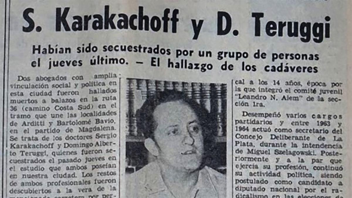 A 45 años del asesinato de Sergio Karakachoff en la ruta 36